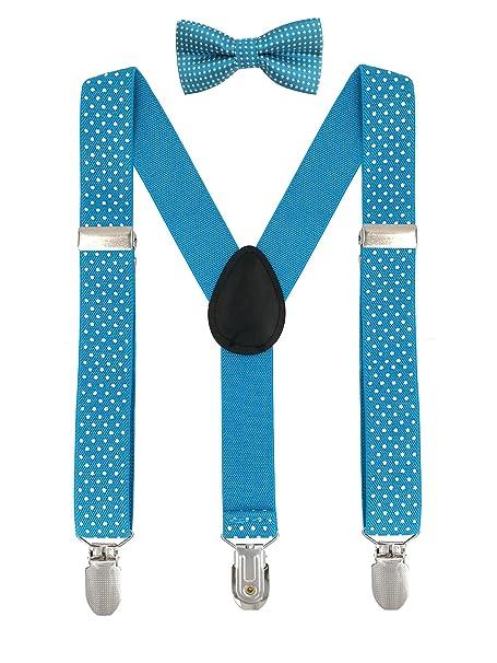 cd521bf91 DEBAIJIA Infantil Niños Niñas Conjunto Tirantes y Pajarita Ajustable  Elástico Y-Forma 3 Clips Ancho 2.5 cm Con Puntos Accesorio De Pantalón Azul  Claro  ...