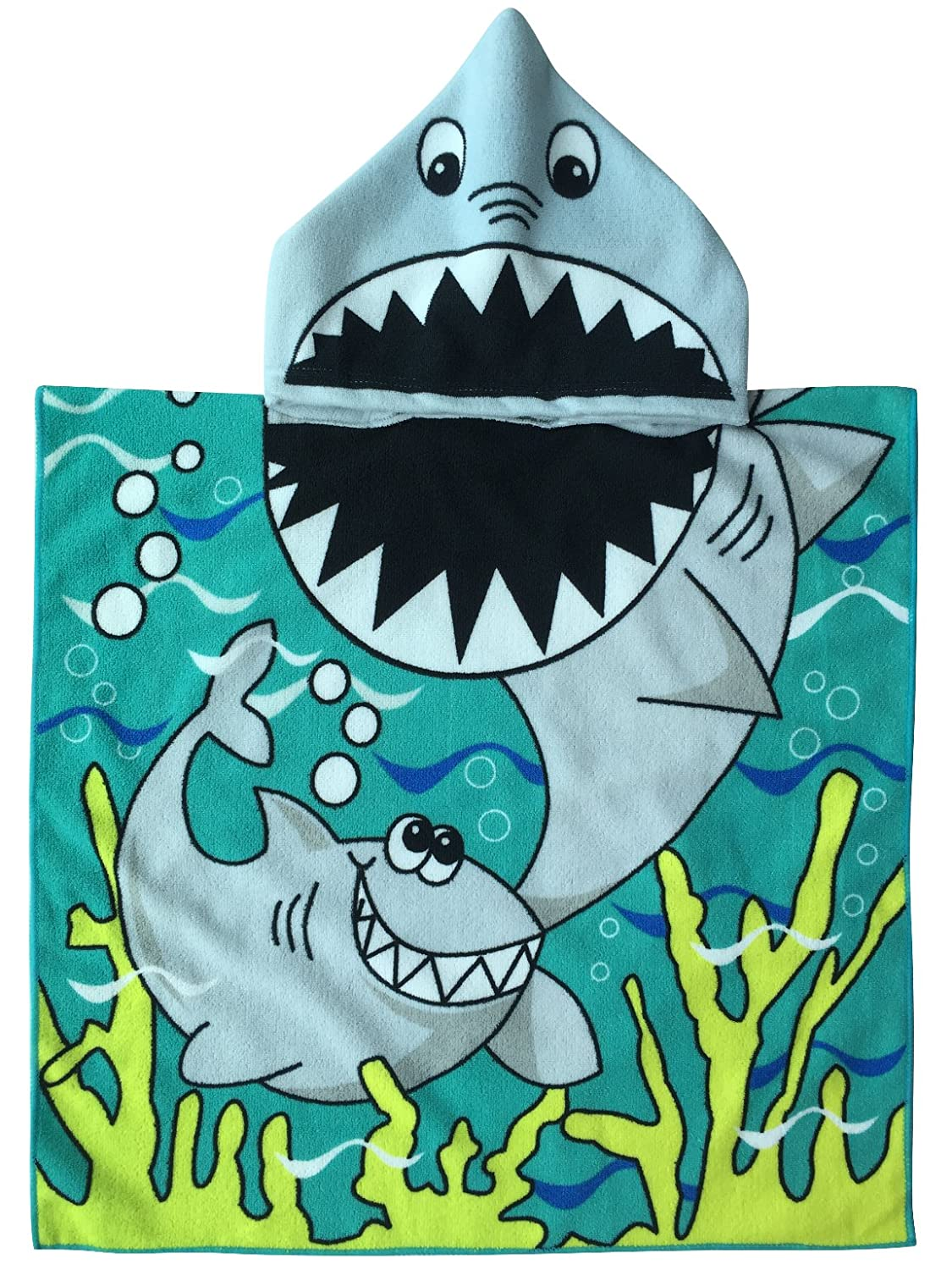 Amazon.com: Child Hooded Poncho Towel with Bright Shark for Bath Pool Time, Soft Quick Drying Microfiber: Home & Kitchen