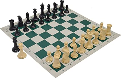 Quadruple Weighted Tournament Chess Pieces with Basic Vinyl Chess Board Natura