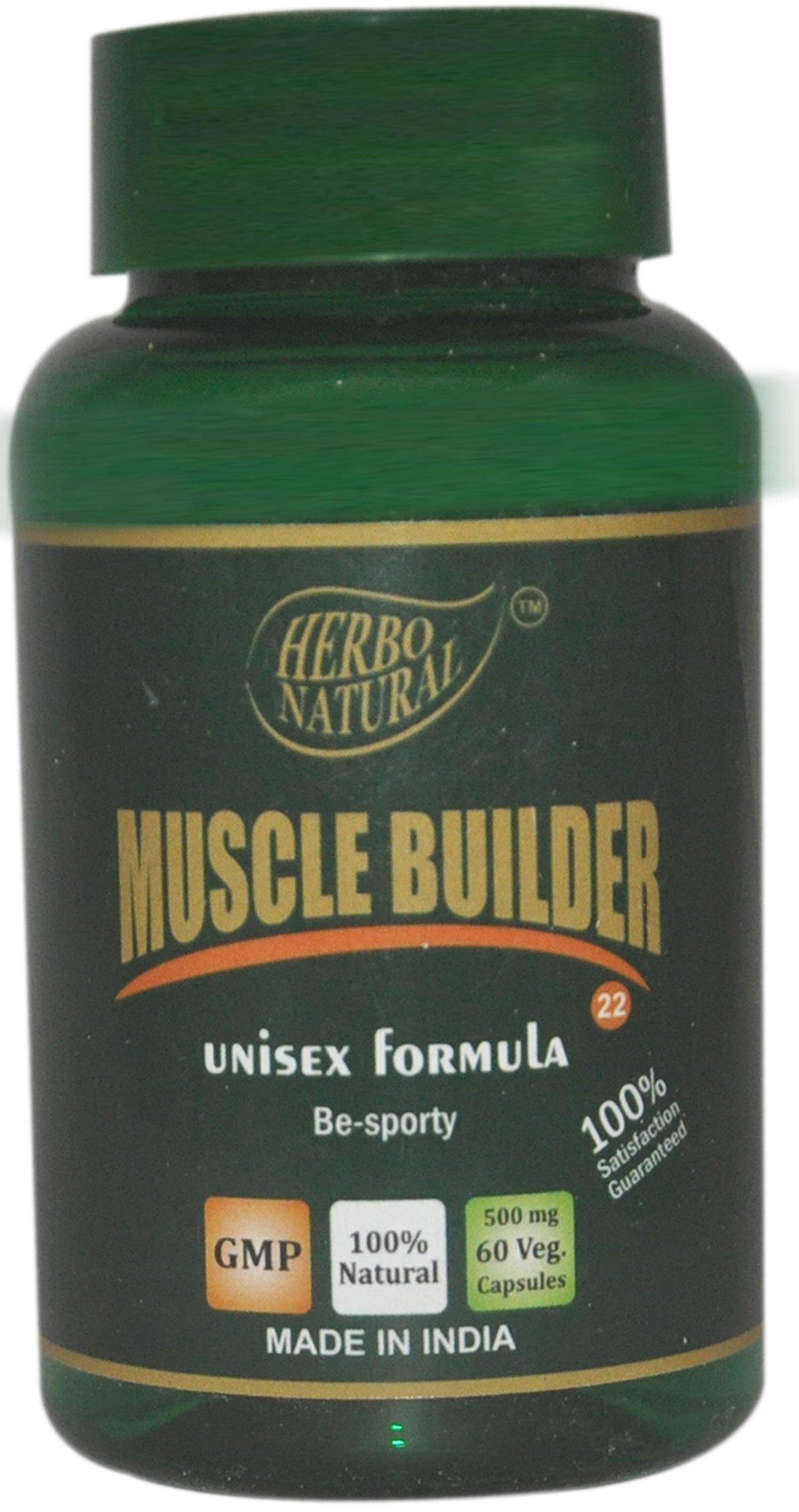 Herbo Natural Ayurvedic Muscle Builder Capsules-60 500mg Veg Cap (pack of 1)