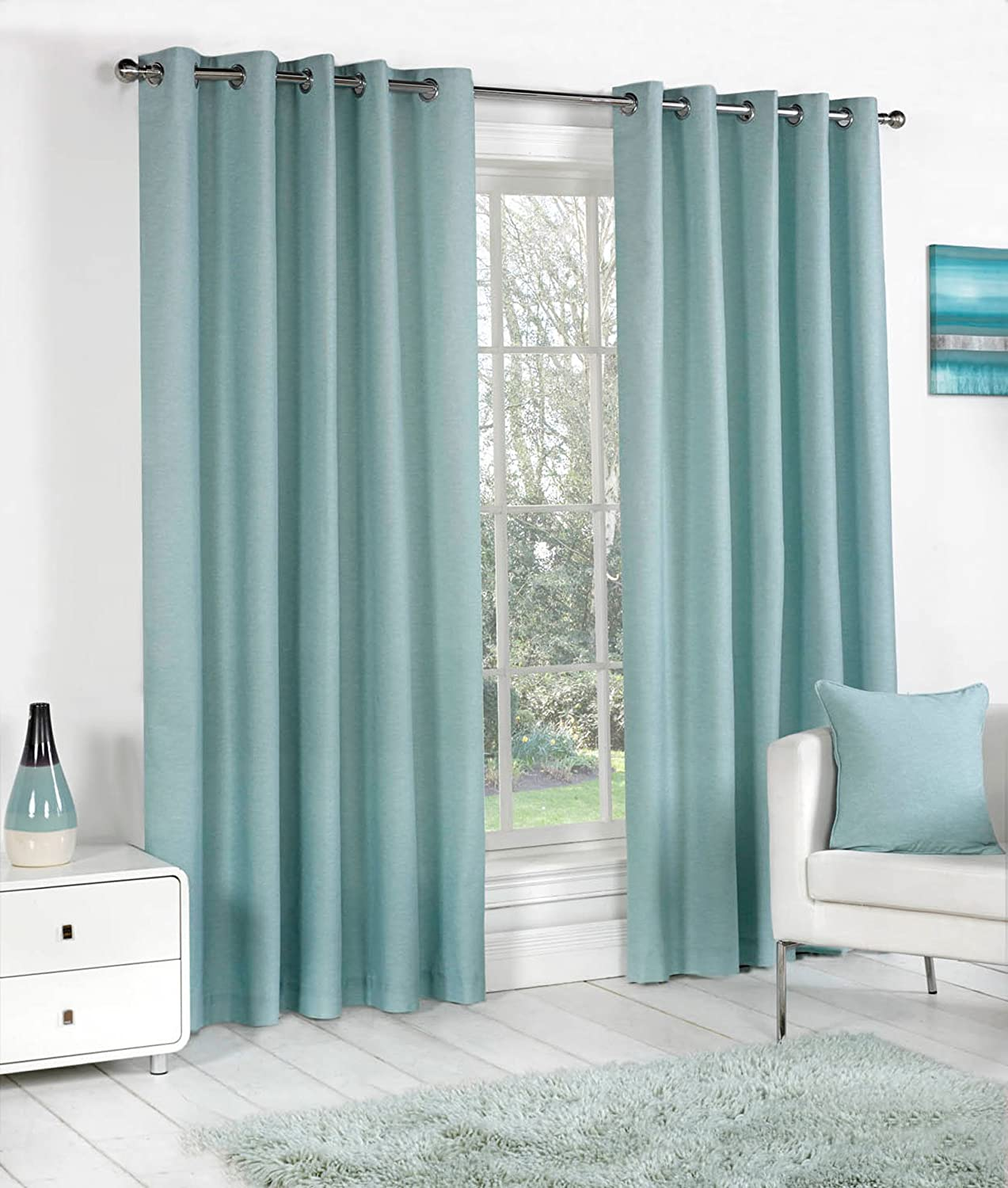 QPC Direct Plain Fully Lined Heavy Cotton Eyelet Ring Top Curtains Duck Egg 46 X 54 117 137cm Amazoncouk Kitchen Home