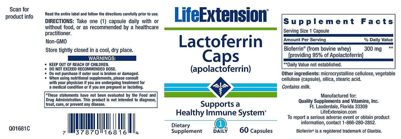 Life Extension Lactoferrin 300mg Capsules, 60-Count by Life Extension: Amazon.es: Salud y cuidado personal