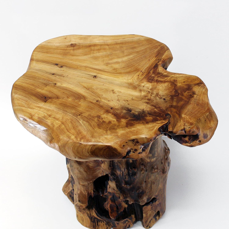 """Amazon WELLAND Tree Stump Side Table Live Edge Stool 20"""" Tall"""
