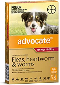 Advocate - Fleas, Heartworm and Worms Treatment for 10-25kg Dogs, 6 Pack
