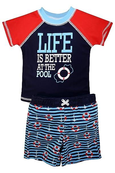 f0e574e6e1 Amazon.com: Sol Swim Boys Short Sleeve 2-Piece Rashguard Swimsuit Set |  Swimwear for Kids: Clothing