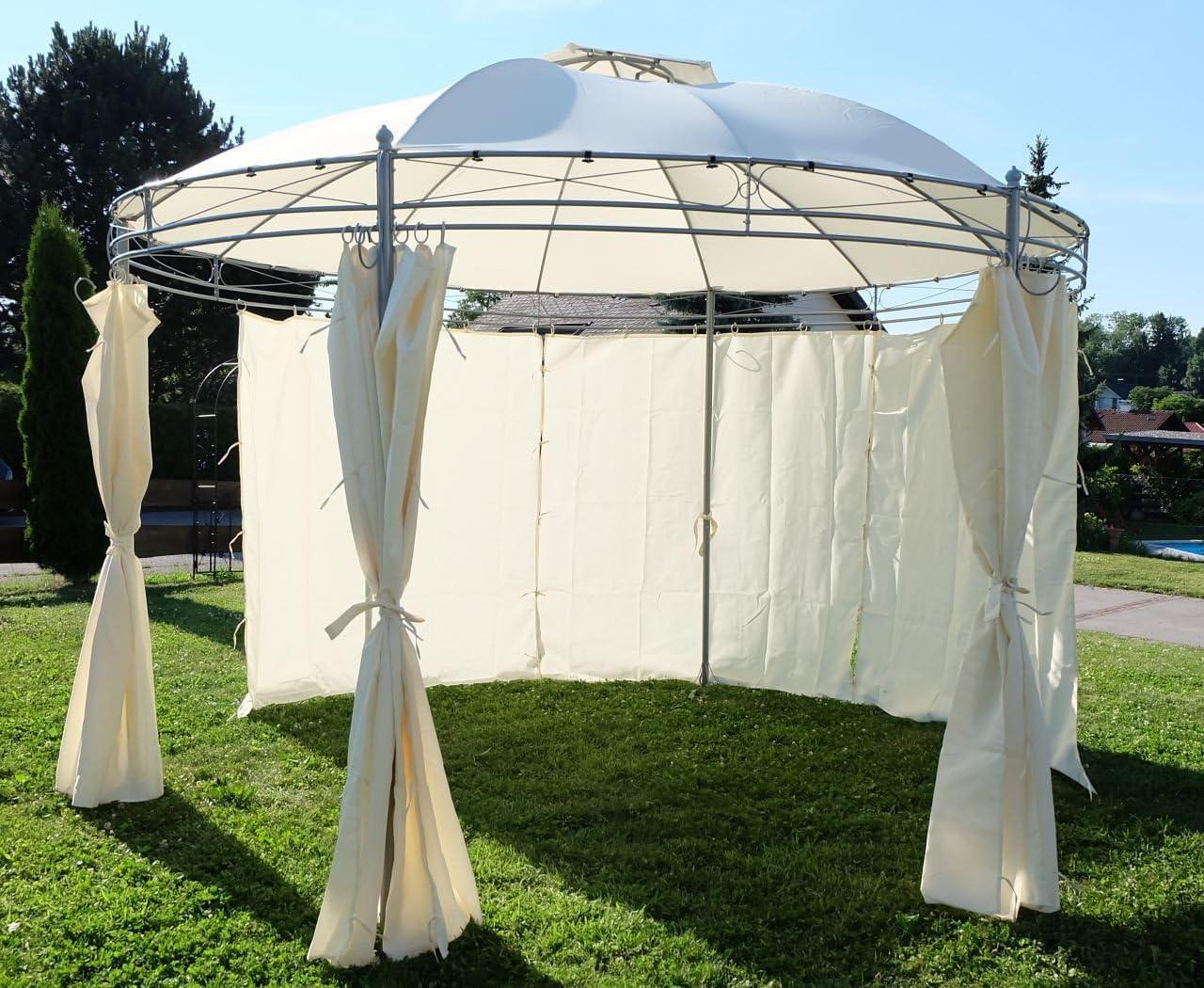 Gazebo elegante 3, 5 metros de diámetro con 6 cortinas 7073-A: Amazon.es: Hogar