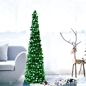 DOYOLLA Collapsible Artificial Christmas Tree, Pop Up Tinsel Coastal Xmas Tree for Home & Party & Office & Fireplace Holiday Decorations (Fresh Green, 5ft)