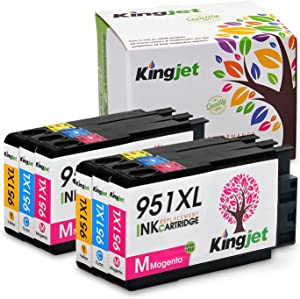 KINGJET Compatible Ink Cartridge Replacement for 951, 951XL Work with Officejet Pro 8100 8600 8610 8615 8620 8625 8630 Printers, (2Magenta, 2Cyan, 2Yellow)