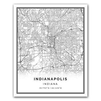 Indianapolis map poster print modern black and white wall art scandinavian home decor