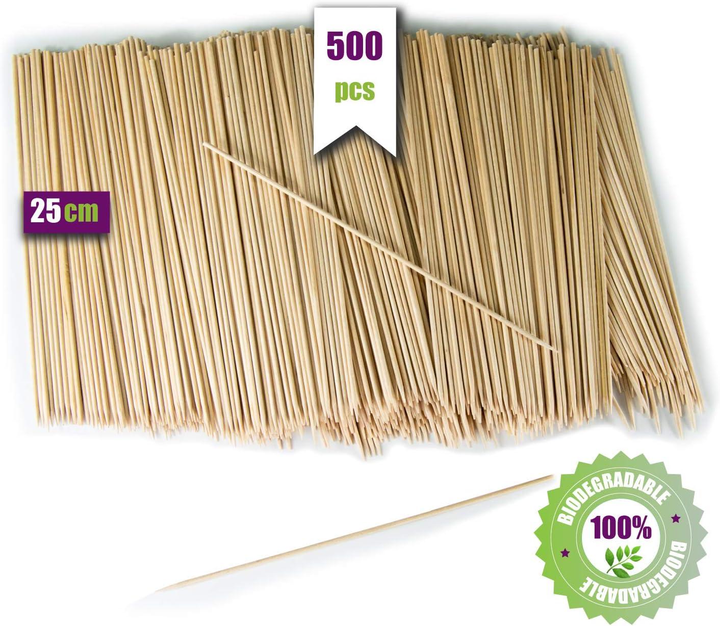 GoBeTree 500 Brochetas de Madera de 25 cm y Ø 3 mm de diámetro. Pinchos y Palos de Madera bambú para Parrillas, barbacoas, Carnes, Verduras. Palos de Madera para Manualidades.