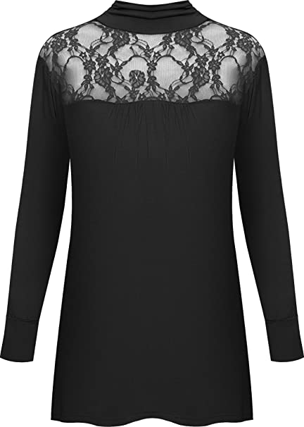 ae349d18d5c WearAll New Ladies Lace Polo Turtle Neck Long Sleeve Womens Stretch Plus  Size Top 12-26  Amazon.co.uk  Clothing