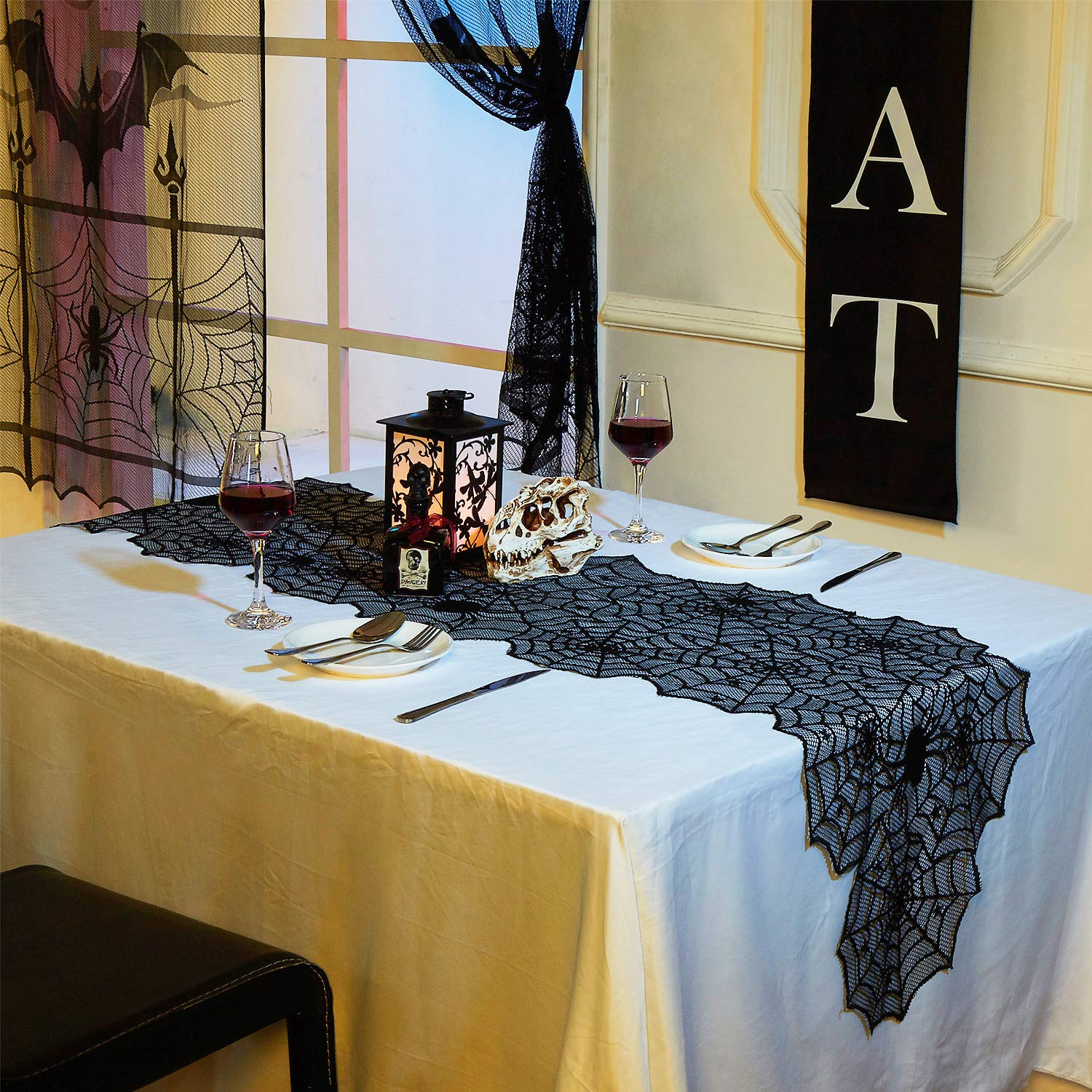 N&T NIETING Halloween Spider Web Black Lace Table Topper 20 x 80 Inches,Black Lace Spider Web Table Runner Halloween Parties, Dinners