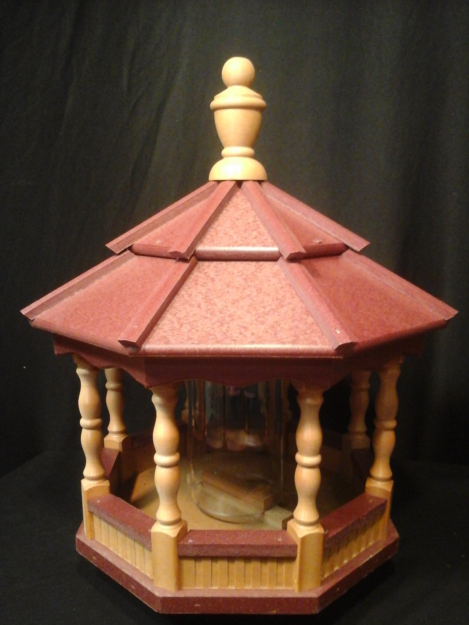 Poly Bird Feeder Amish Gazebo Handcrafted Homemade Cedar & Red Roof