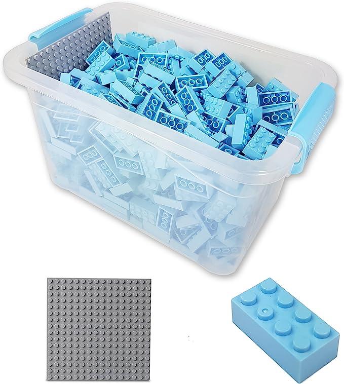 Katara Juego De 520 Ladrillos Creativos En Caja Con Placa De Construcción 100% Compatibles Con Lego Classic, Sluban, Papimax, Q-bricks, Color Azul Claro (1827) , color/modelo surtido: Amazon.es: Juguetes y juegos
