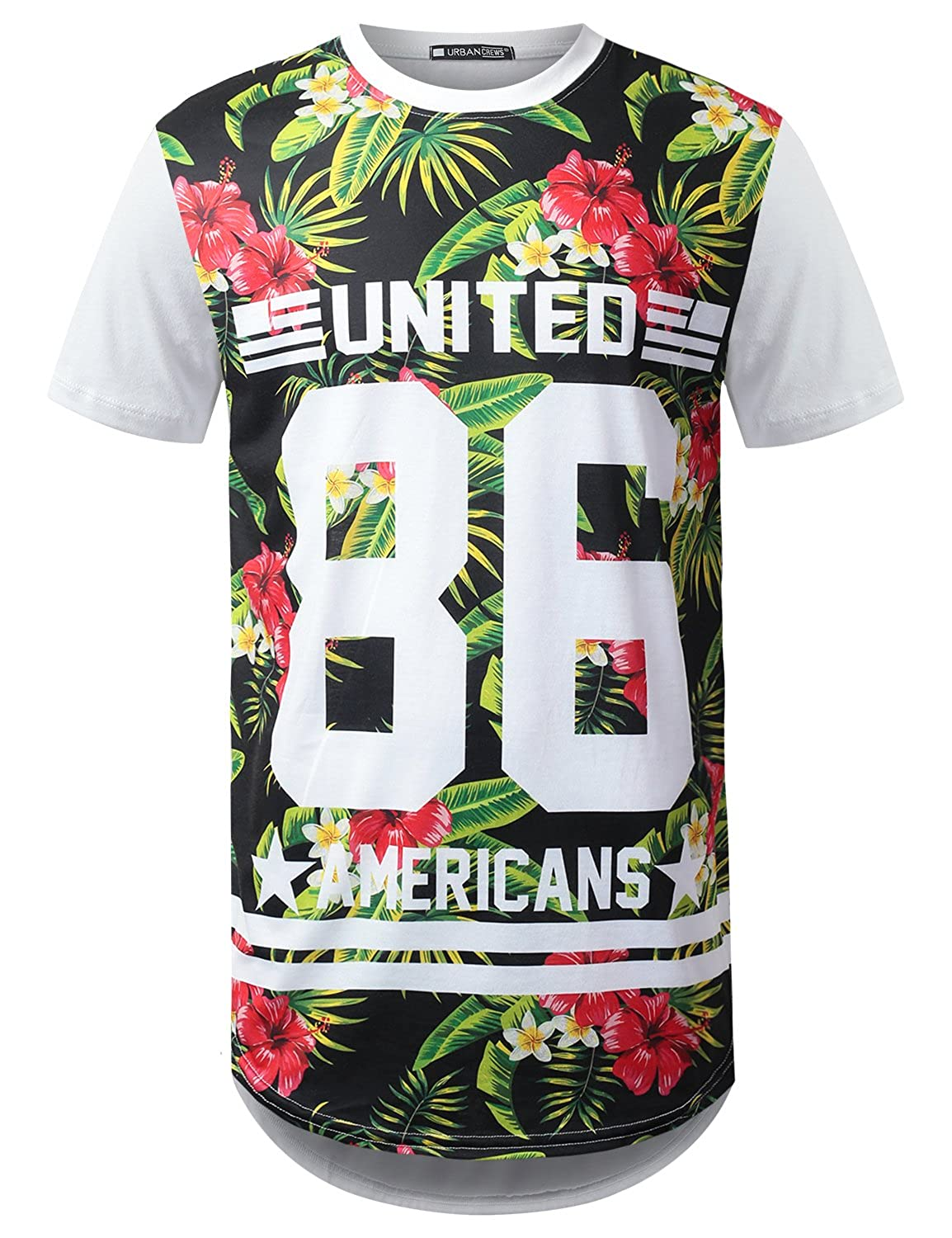 URBANCREWS Mens Hipster Hip Hop Graphic Print Longline Jersey T-Shirt