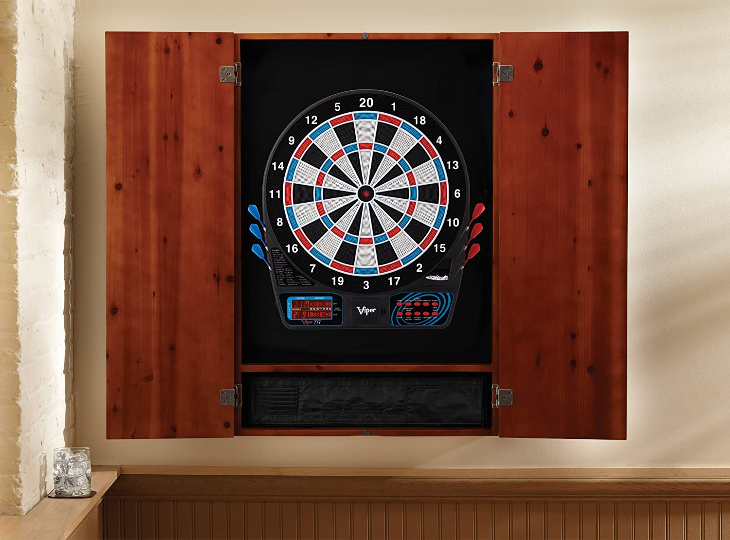 Viper Metropolitan Solid Wood Cabinet /& Electronic Dartboard Ready-to-Play Bundle with Two Sets of Soft-Tip Darts and Integrated Storage in Multiple Stain Options