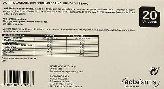 Obegrass Barrita Saciante, Quínoa, Sésamo y Lino - 20 ...