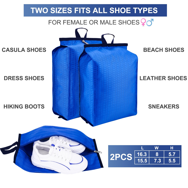 Blue Blue Shoe Bags with Zipper Closure Waterproof Nylon Storage Bag for Men /& Women Pack 4