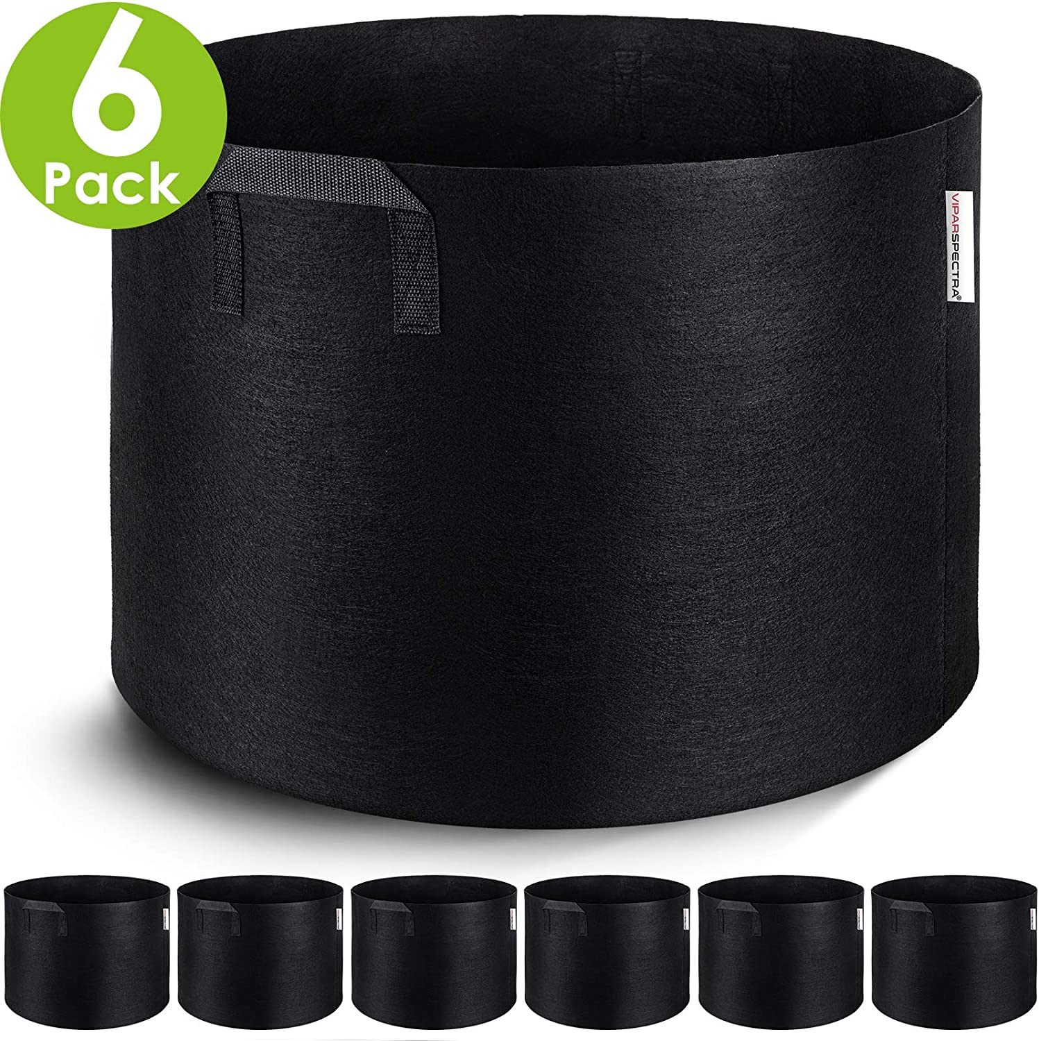 VIPARSPECTRA 6-Pack 20 Gallon Grow Bags - Thickened Nonwoven Aeration Fabric Pots Container with Heavy Duty Durable Handles for Garden Indoor Plants