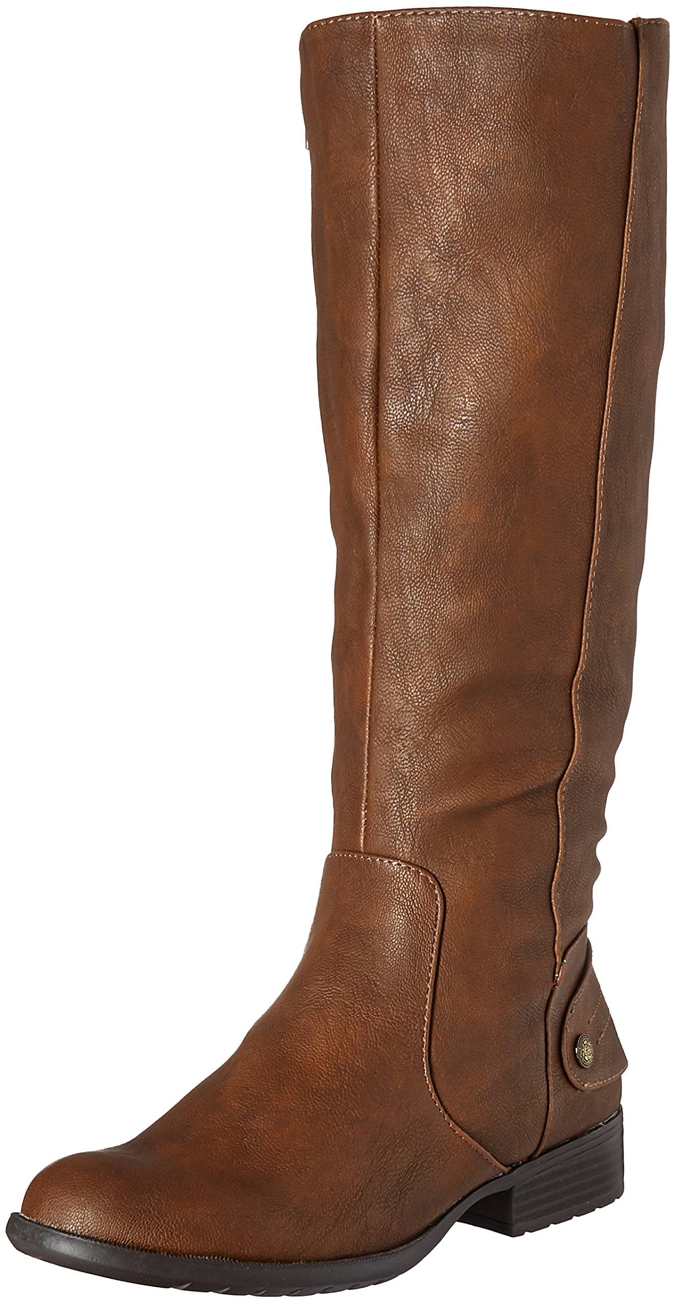 LifeStride Women's Xandywc Riding Boot- Wide Calf, Dark Tan, 8.5 M US
