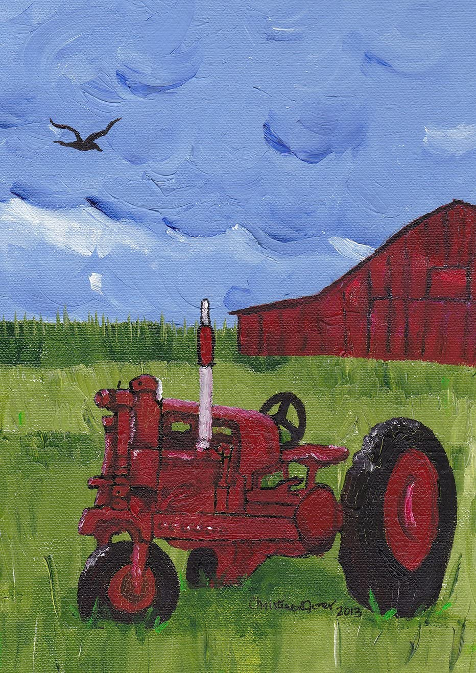 Toland Home Garden Red Tractor 12.5 x 18 Inch Decorative Farm Barn Painting Garden Flag