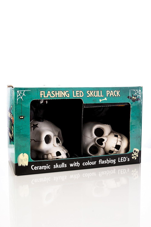 Halloween 2/pi/èces en c/éramique peinte /à la main Motif cr/ânes et chauves-souris clignotant lumi/ères LED pour lint/érieur les f/êtes/ /Piles incluses