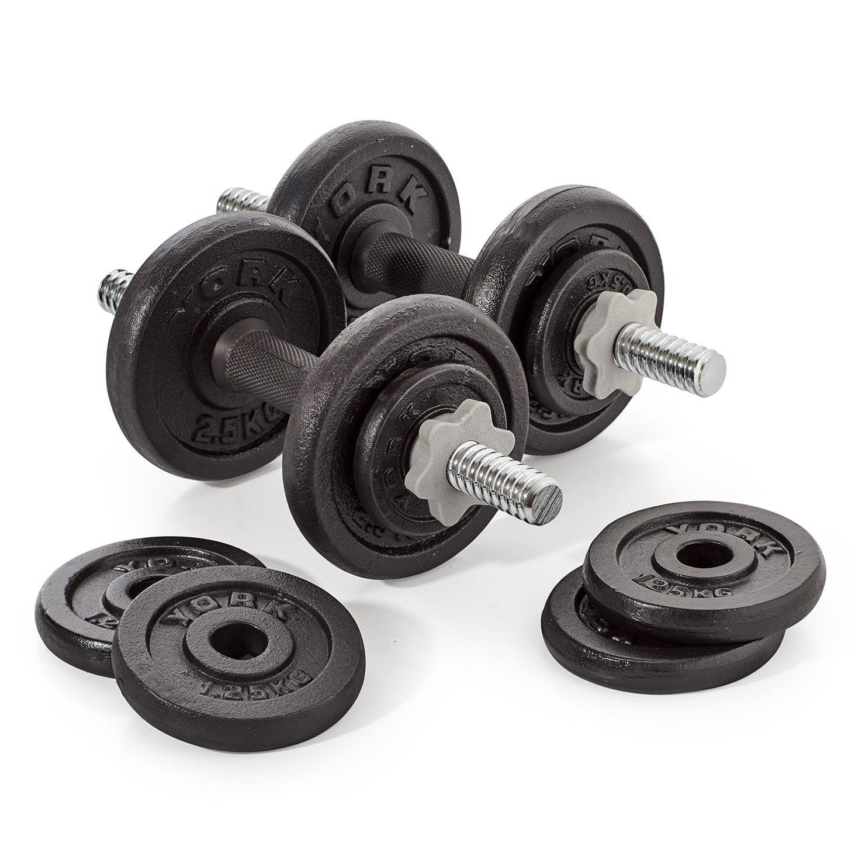 York Juego de pesas 20 kg negras hierro fundido: Amazon.es: Deportes y aire libre