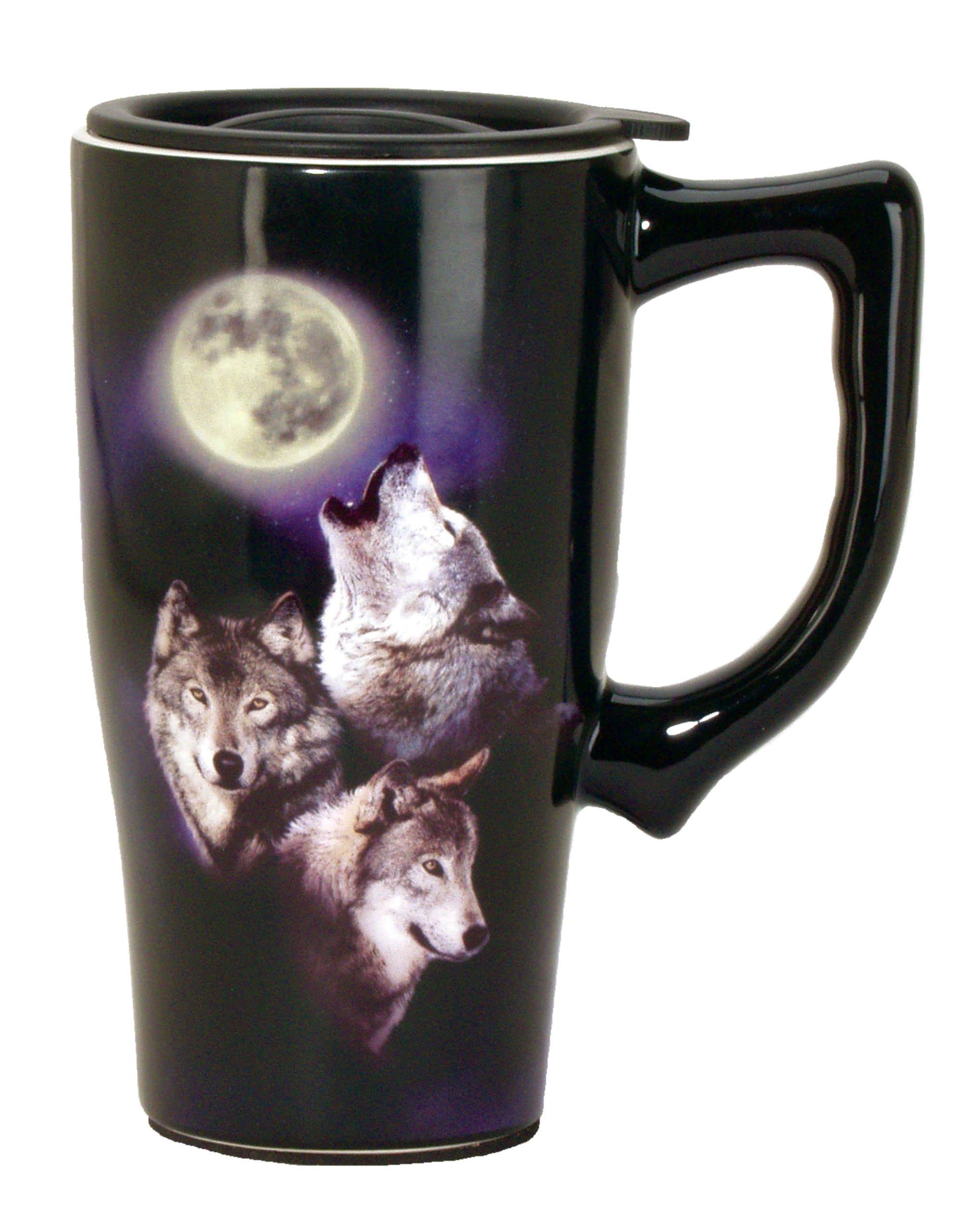 Spoontiques Wolves/Moon Travel Mug, Black