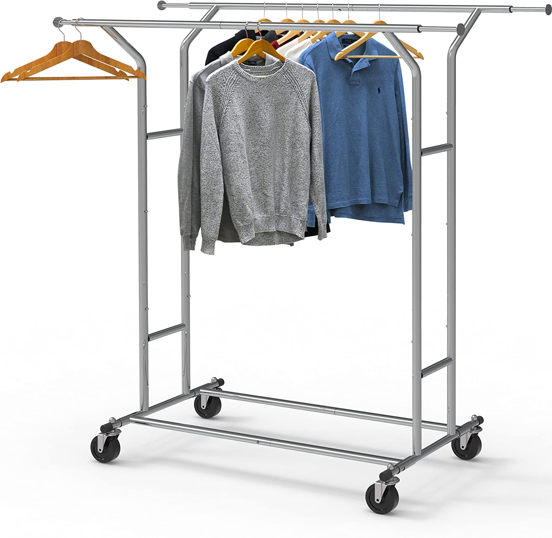 Heavy Duty Double Rail Clothing Garment Rack,