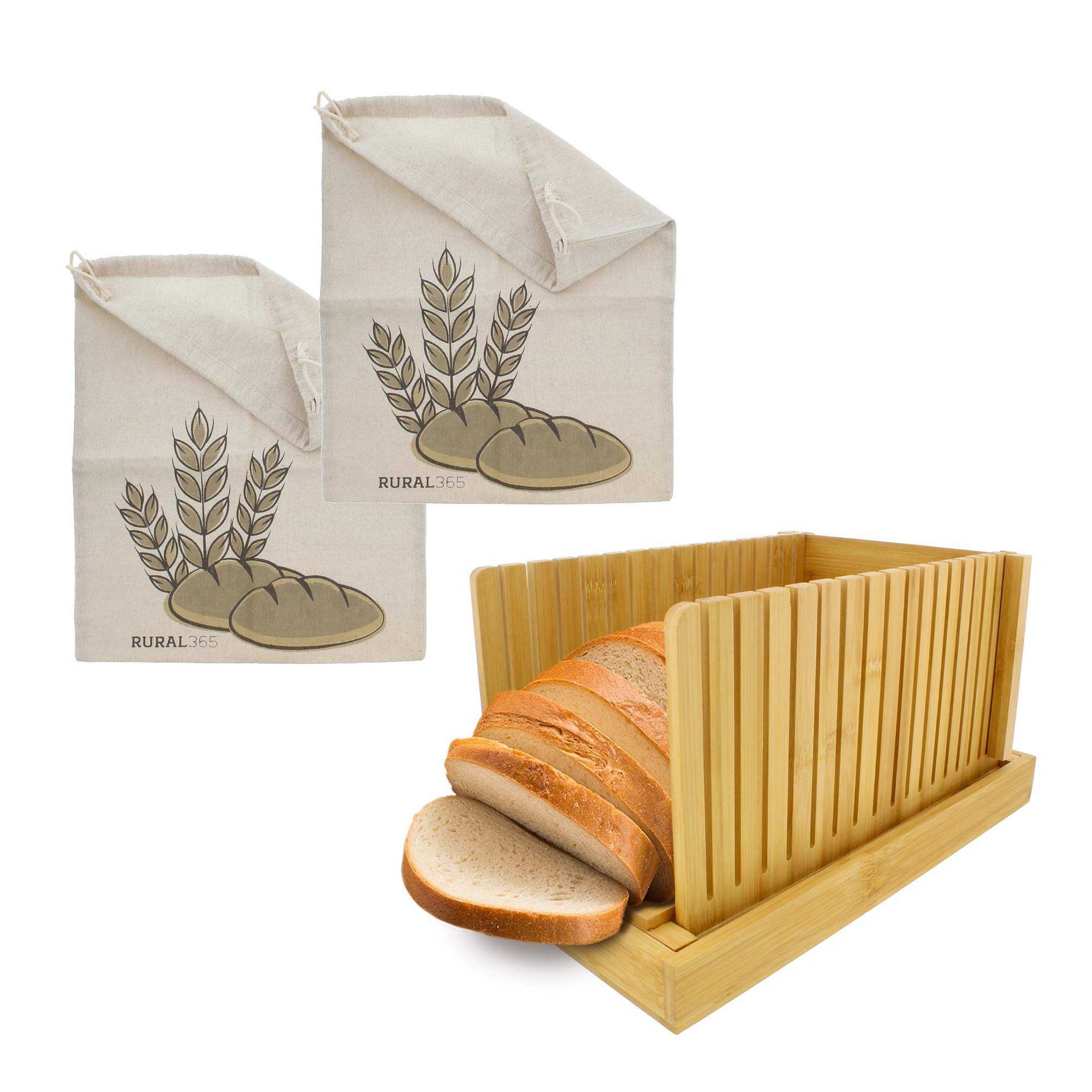 Rural365 Bamboo Bread Slicer Guide and 2 Pack Natural Linen Bread Bags for Homemade Bread - Bread Baking Supplies