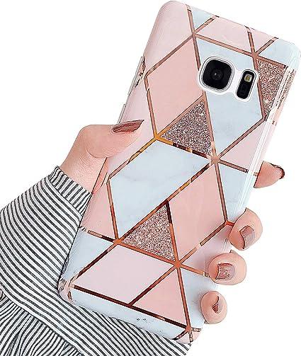 Jinghaush Compatible avec Samsung Galaxy S7 Coque Marbre Motif Brillante Glitter Ultra Mince Souple TPU Silicone Fille Femme Housse Etui de Protection ...