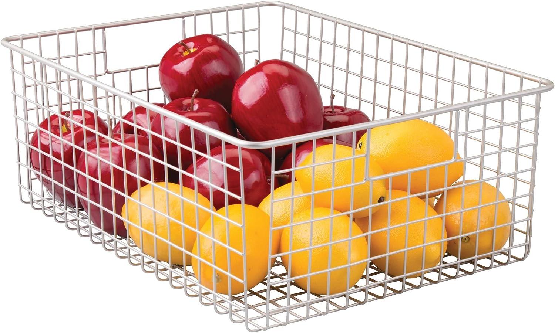 iDesign Classico Wire Storage Basket, Satin Silver, 12 x 16 x 6 Inch, 1 Piece