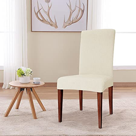 CHUN YI Jacquard Polyester Spandex Fabric Dining Chair Covers Slipcovers Stretch Ivory 2