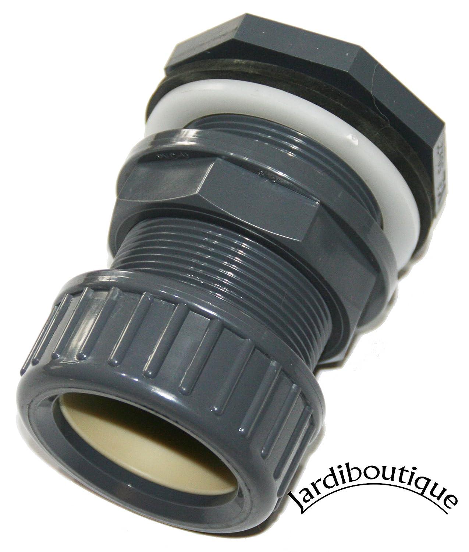 Pasamuros de PVC + tuerca de cierre de 32mm de diámetro montaje del tubo rápido–ideal para acuaponía–jardiboutique. SAS MV