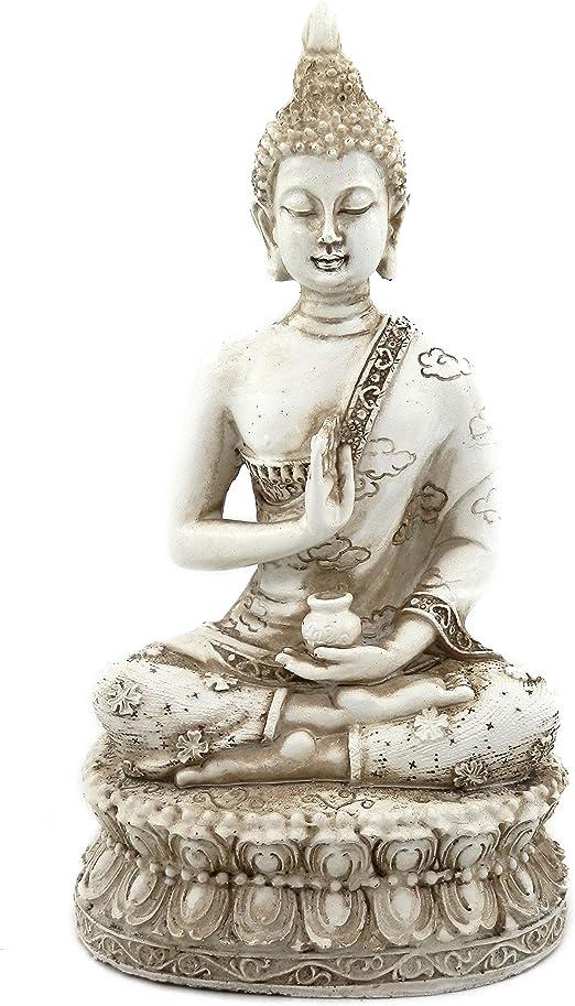 Ornerx Estatua De Buda Tailandés Sentado Para Decoración Del Hogar Color Marfil De 6 3 In Home Kitchen