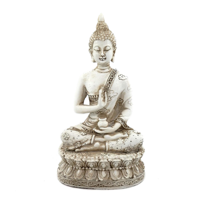 "ornerx Thai Sitting Buddha Statue for Home Decor Ivory 6.7"""
