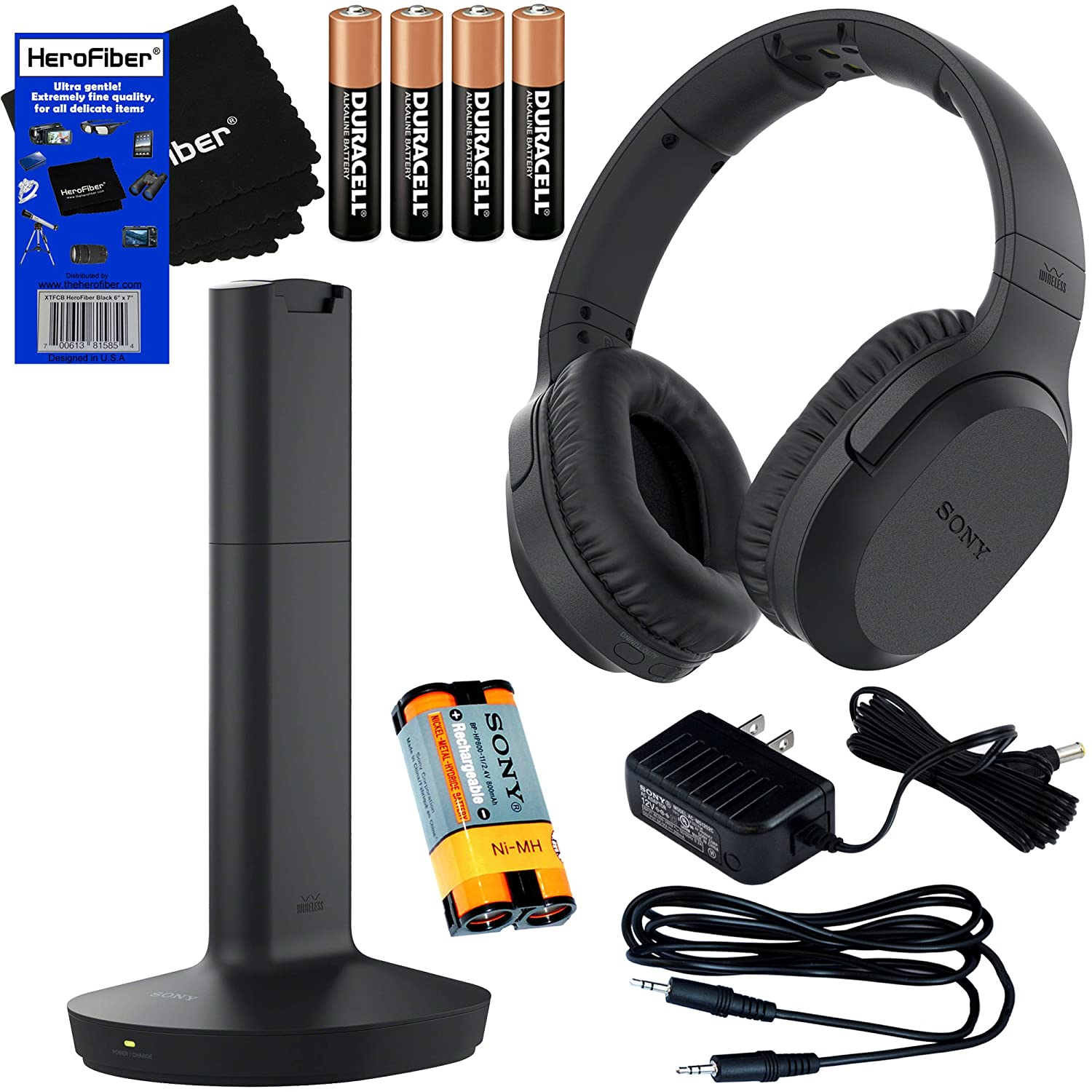 Sony MDRRF995RK Wireless RF (Radio Frequency) Headphone with Transmitter Base Station + Sony Rechargeable Battery + 4 AAA Batteries + Stereo Connecting Cable + AC Adaptor + HeroFiber Cleaning Cloth