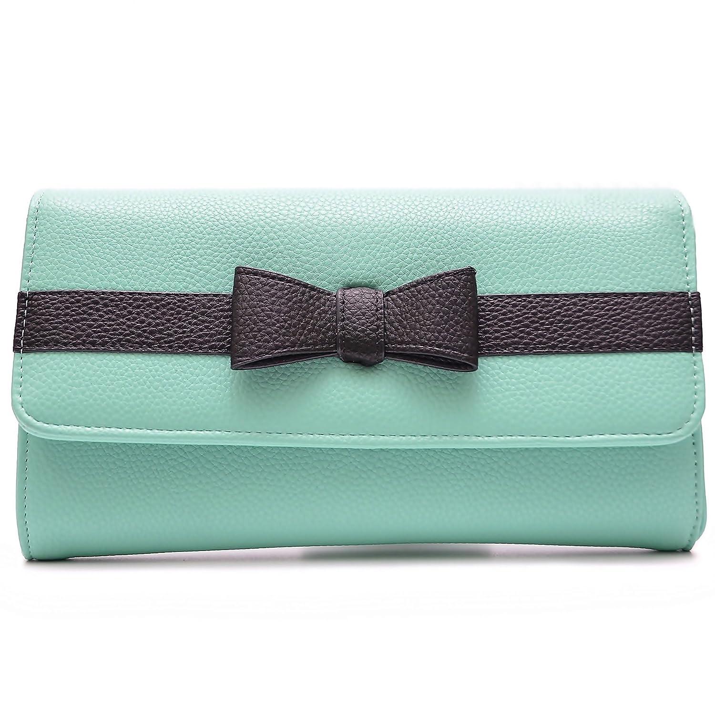 Vain Secrets Damen Tasche Umhängetasche Abendtasche Clutch mit Schulterriemen und Handschlaufe mit Schleife Beige) SZV110BE