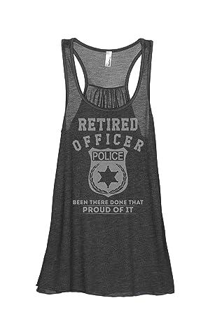 de1b1e5e46d2b Thread Tank Retired Police Officer Women s Sleeveless Flowy Racerback Tank  Top Charcoal Grey Small
