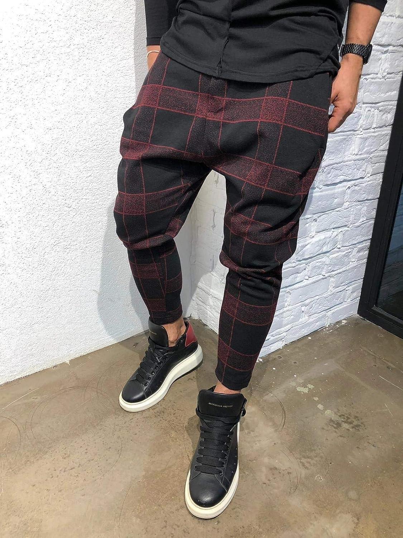 Mens Harem Casual Baggy Hiphop Jogger Sport Pants Plaid Sweatpants
