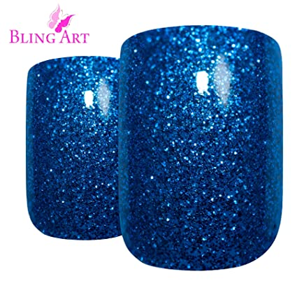 Uñas Postizas Bling Art Azul Gel 24 Squoval Medio Falsas puntas acrílicas con pegamento