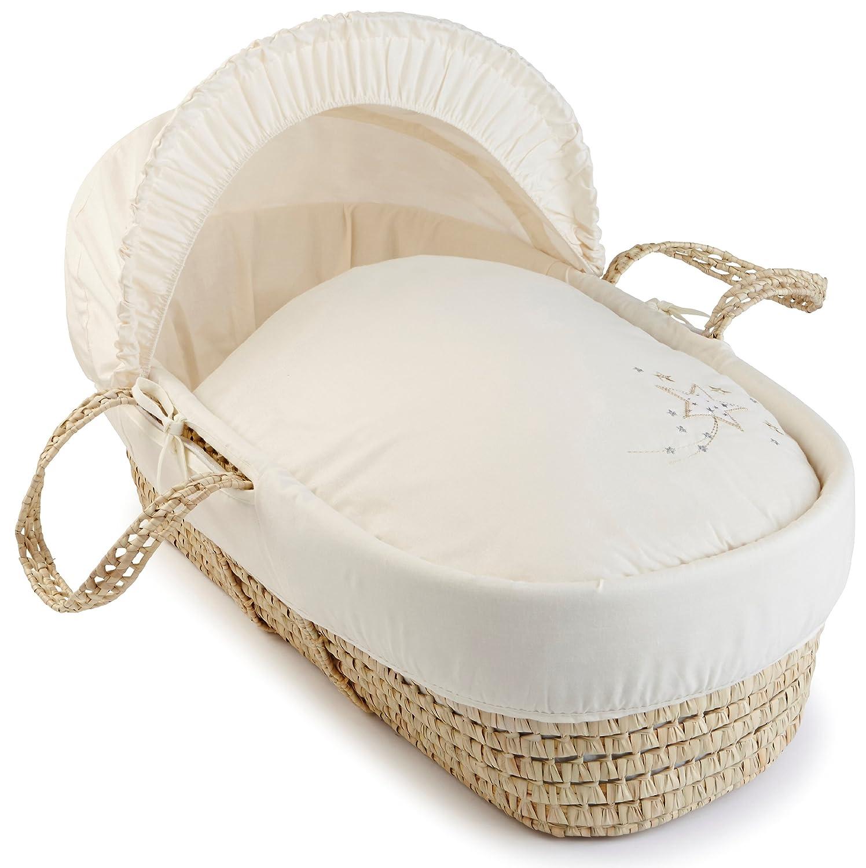 Clair de Lune Starburst Palm Moses Basket inc. bedding, mattress & adjustable hood (Cream) CL4790C
