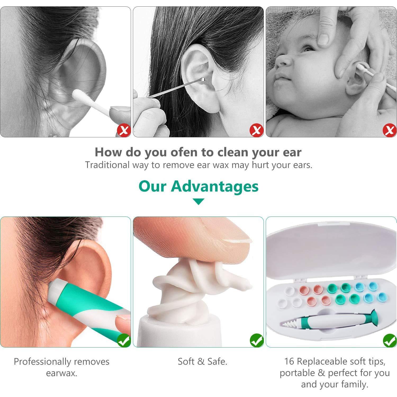 Ohrenreiniger 360 Grad Spiral Silikon Sicher und Weich Q-Grips Ohrenreiniger mit 16 Abwaschbaren Ersatzk/öpfen Geeignet f/ür Kinder und Familie