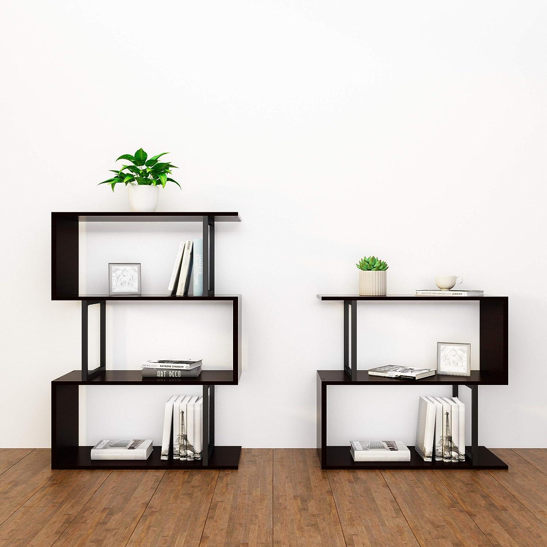 SIMPDIY Wood-Look Steel Frame Storage Shelf Bookshelf Large Storage Rack