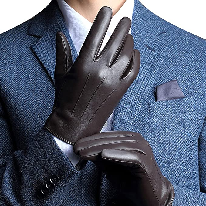 Men's Vintage Christmas Gift Ideas Harrms Best Touchscreen Italian Nappa Genuine Leather Gloves for mens Texting Driving Cashmere Lining £53.35 AT vintagedancer.com