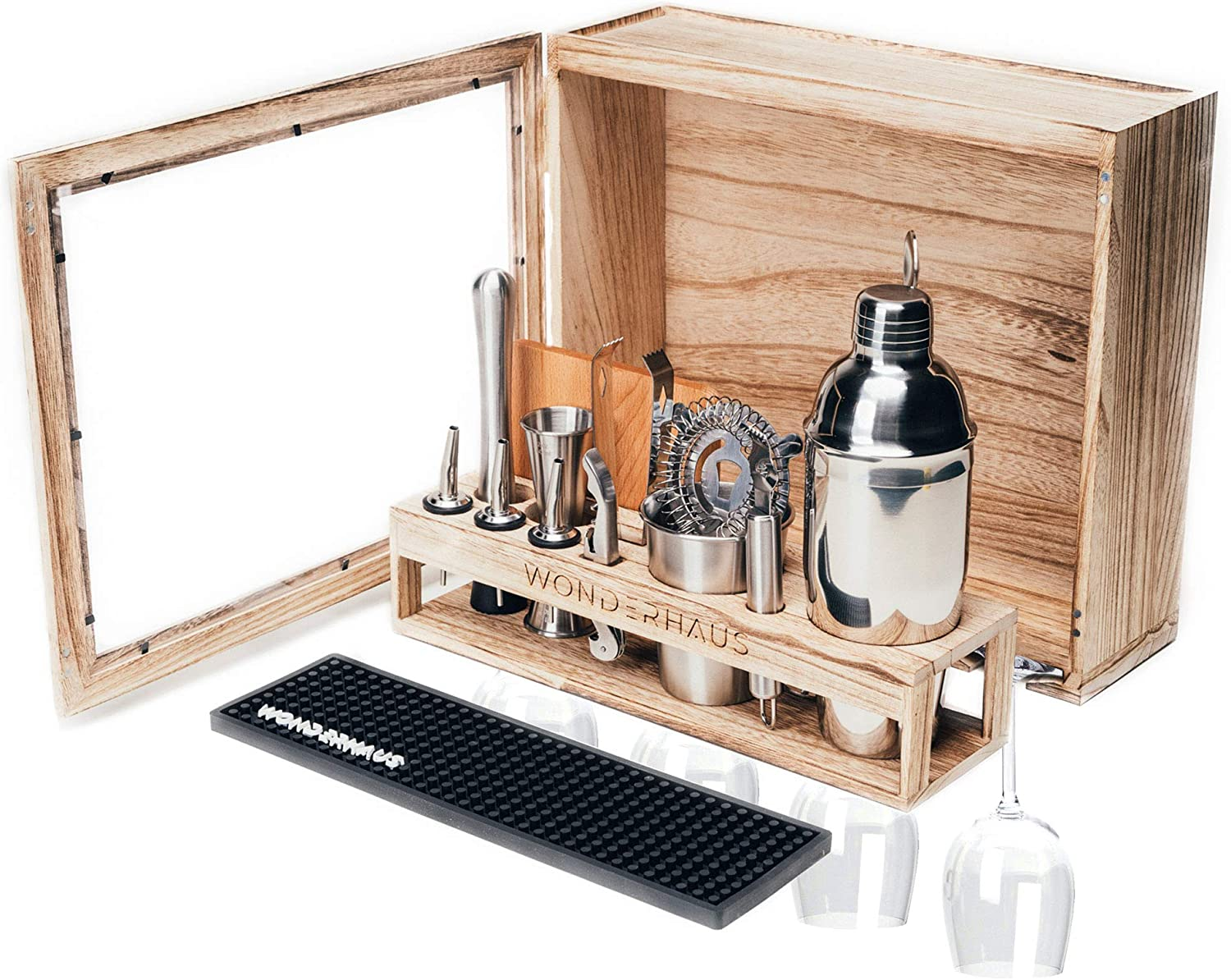 Mixology Bartending kit with stand, Barbox is Stylish Rustic 17-Piece Stainless Steel Bar Tools Cocktail Set, Glass Rack, Elegant Home Wall Decor Mini Bar