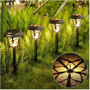 Solar Pathway Lights Outdoor 6 Pack- Super Bright LED Waterproof Solar Garden Lights, Stainless Steel & Glass,Solar Powered Landscape Lights for Yard, Path, Lawn, Driveway, Patio(Warm White)