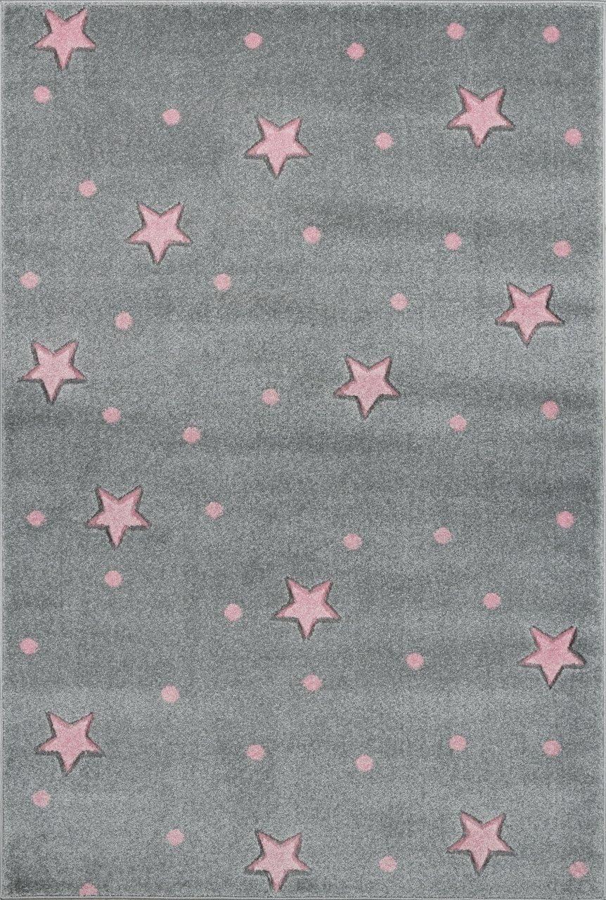 Livone Pflegeleichter Kinderteppich Baby Teppich Kinderzimmer Sterne Punkte in Creme rosa Gr/ö/ße 100 x 150 cm