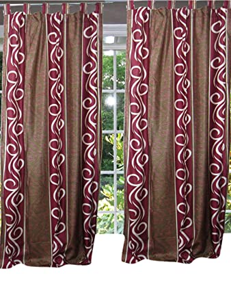 2 window curtains pair panels style tab top window decor 84x48
