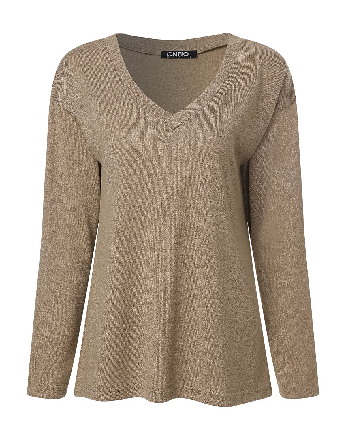CNFIO Womens V Neck Sweater Shirt Long Sleeves Tops Thin Knit Pullover